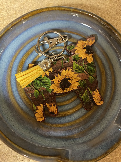 Sunflower cow keychain with yellow leather tassel