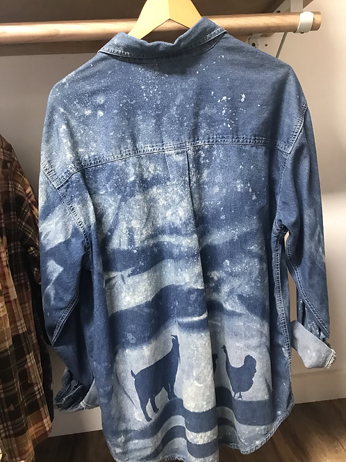 Chicken and goat bleached flannel size large