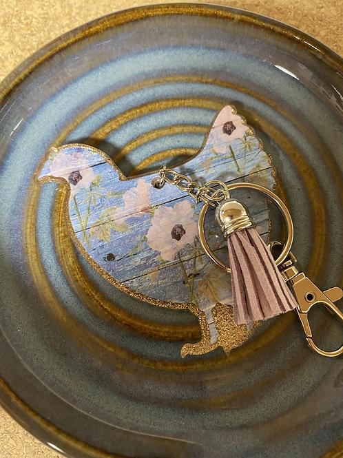 Floral chicken keychain with pink leather tassel