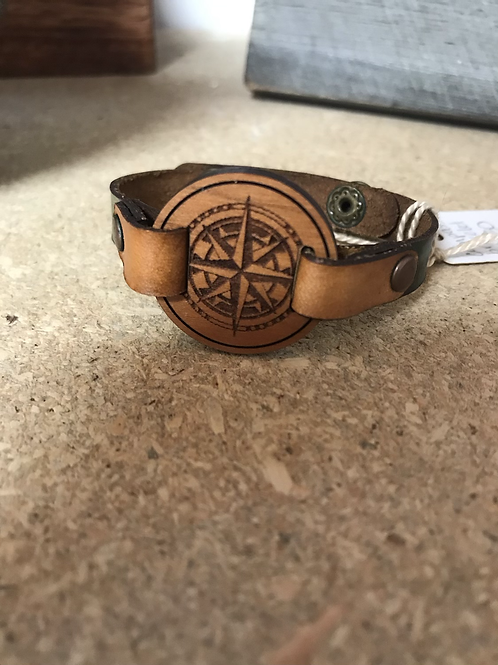 Leather and Wood Compass Bracelet