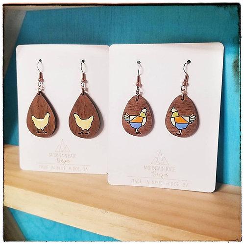 Colored chicken wood dangles