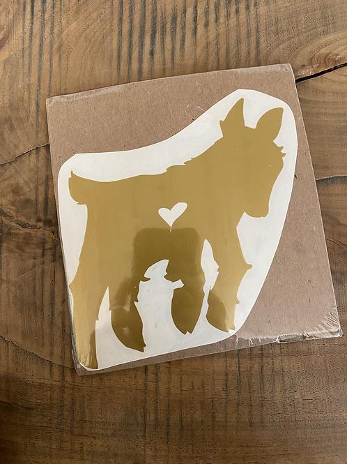 Gold goat kid medium decal