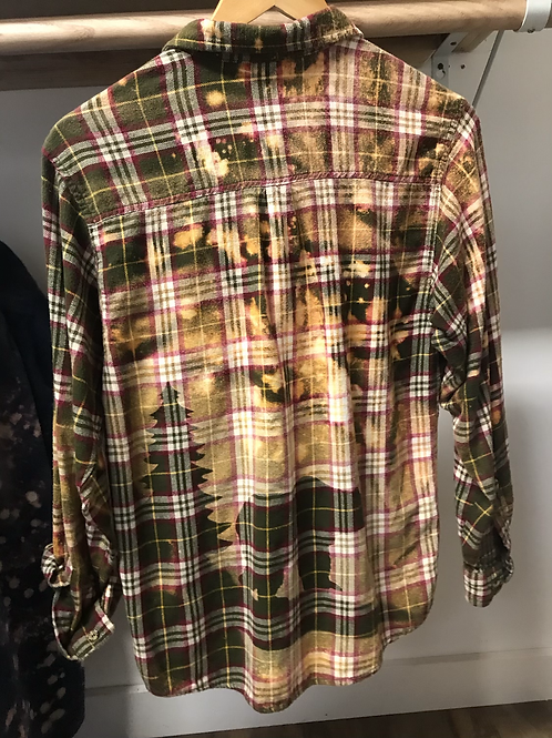 Bear and tree bleached flannel size Small