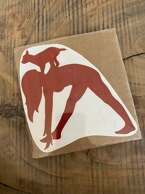 Goat yoga red medium decal