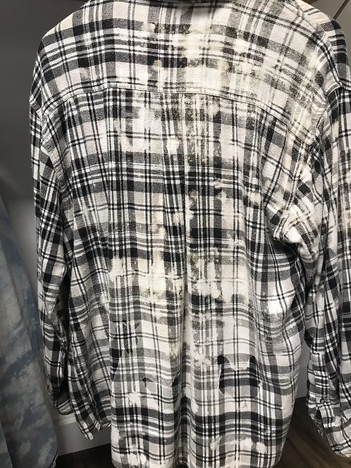 Black plaid chicken and goat bleached flannel size L