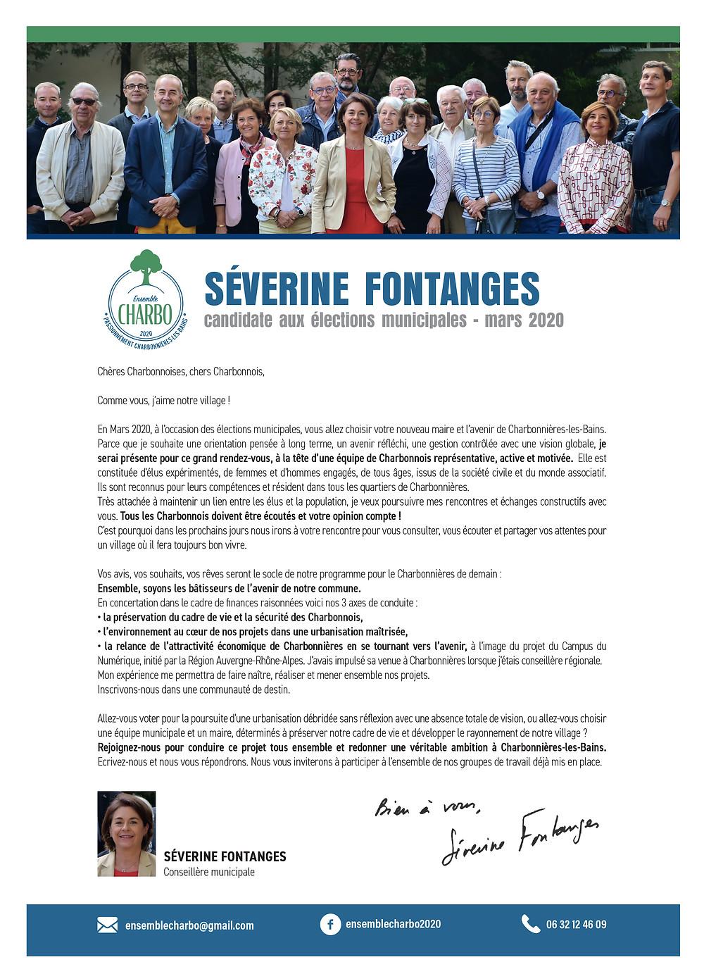 lettre de candidature Severine Fontanges