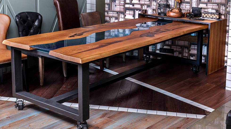 wood dining table on wheels
