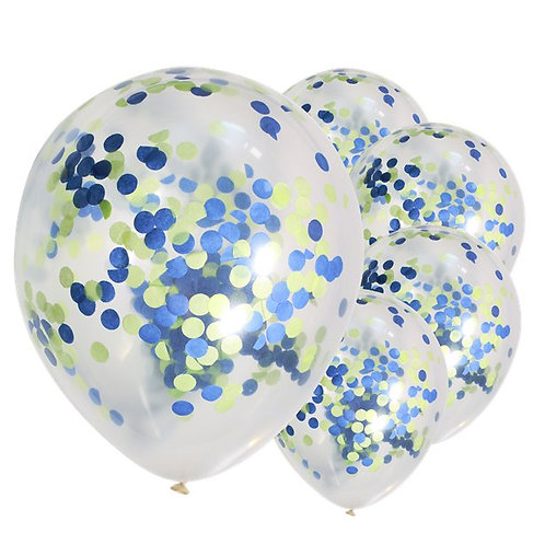 Blue and Green Confetti Latex Balloons
