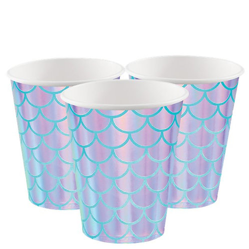 Iridescent Mermaid Print Paper Cups (8pk)