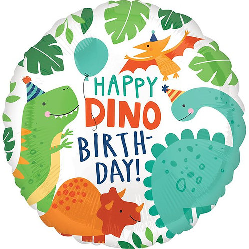 Happy Dino Birthday Foil Balloon