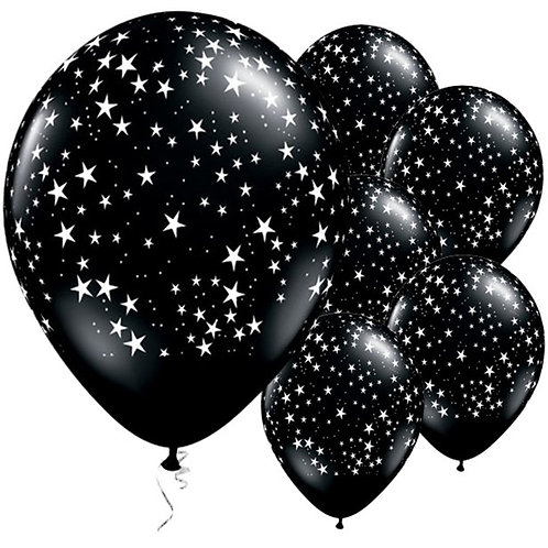 Onyx Black Star Patterned Latex Balloons (25pk)
