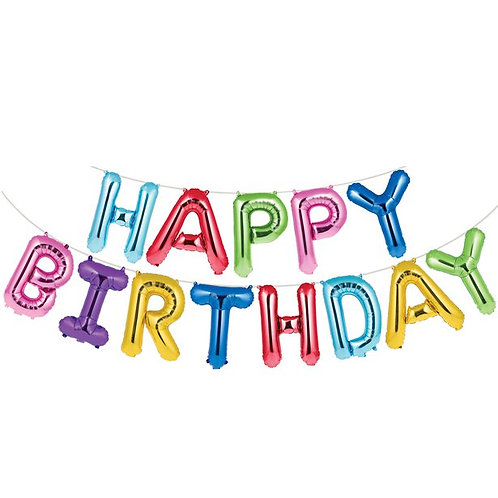 'Happy Birthday' Rainbow Balloon Bunting 4.3m
