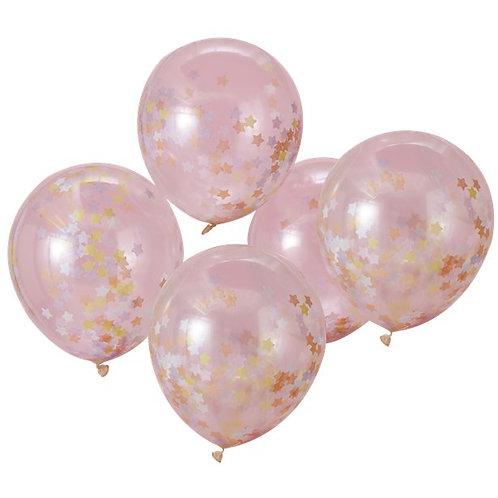 Pink Star Confetti Latex Balloons