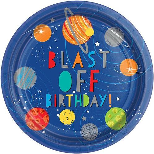 Blast off Birthday Paper Plates