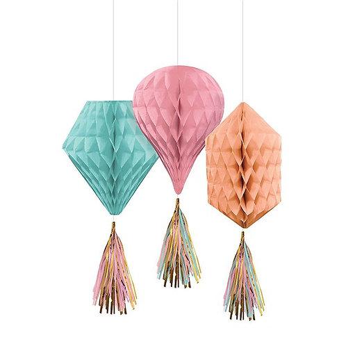 Mini Honeycomb Decorations (3pk)