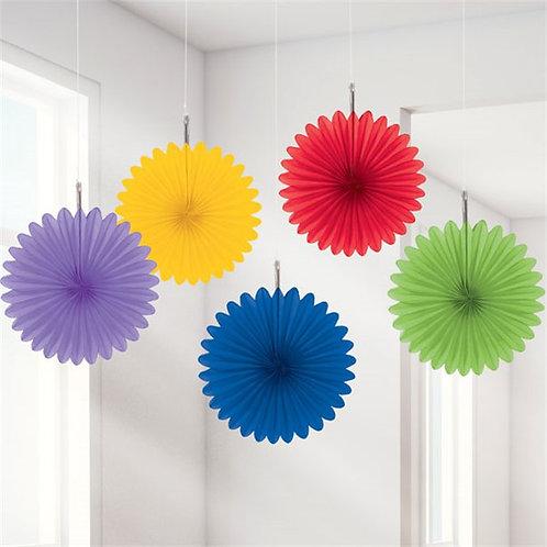 Rainbow Paper Fan Set (5pk)