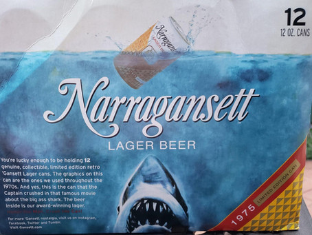 """Who's back of the week? The Narragansett Beer """"Jaws"""" Cans."""