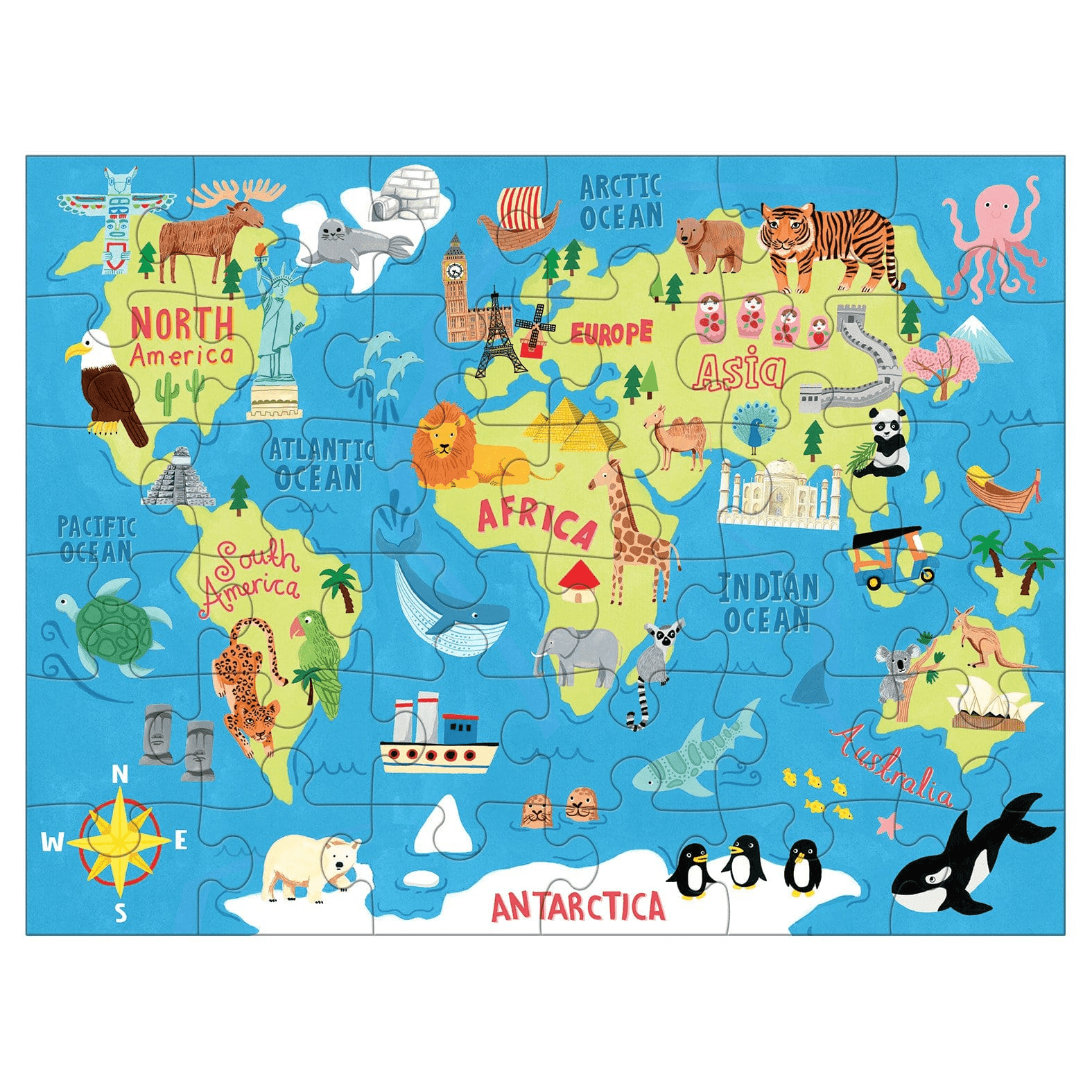 Map of the World Puzzle to Go   ay Kids Company Dinosaur World Map on
