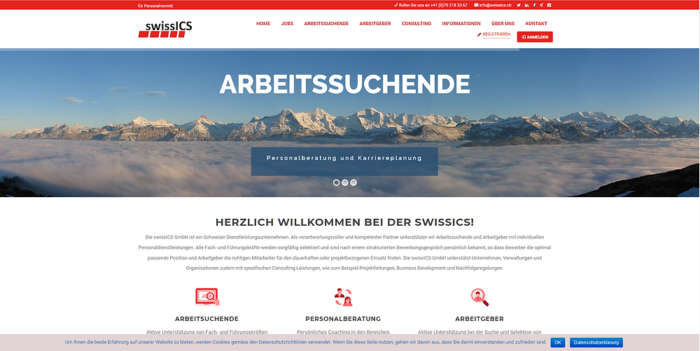 Webseite www.swissics.ch