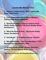 Louisville Kentucky Mural Tour Address List