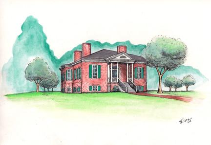 Farmington House Watercolor Illustration