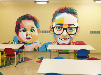 Collaborative Mural done with students at the Home of the Innocents, 2017.