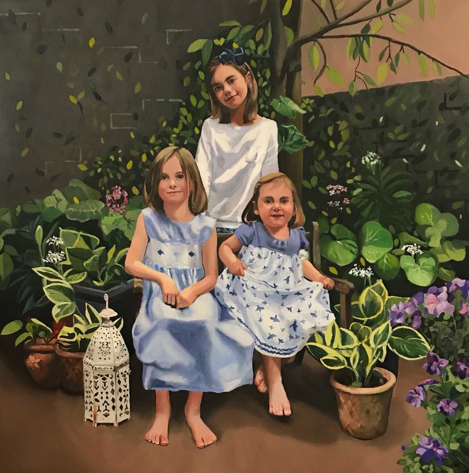 Three sisters in their garden