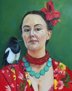 Self portrait with magpie