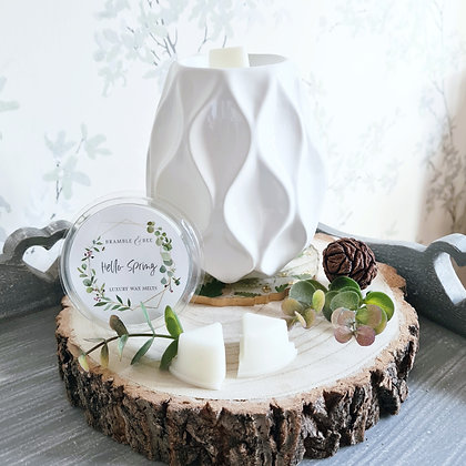 White Wax Melt Burner - Tulip
