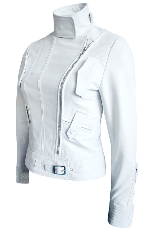 Women White Angel Brando Leather Jacket