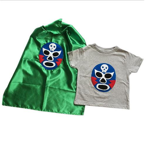 Kid's Cape and Shirt-Luchador Azul - Blue Mexican Wrestler Toddler