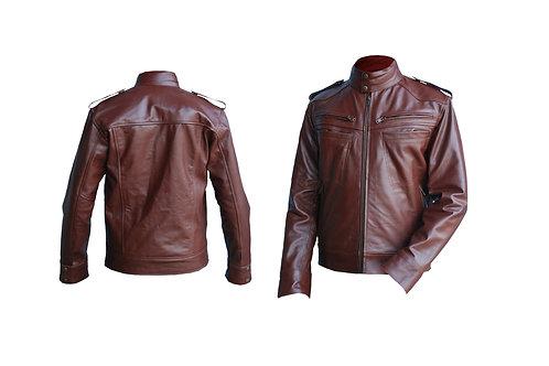Men Reddish Brown Genuine Leather Jacket