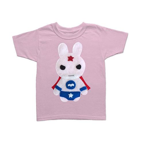 Kids Superhero Shirt - Team Super Animals - Star Bunny
