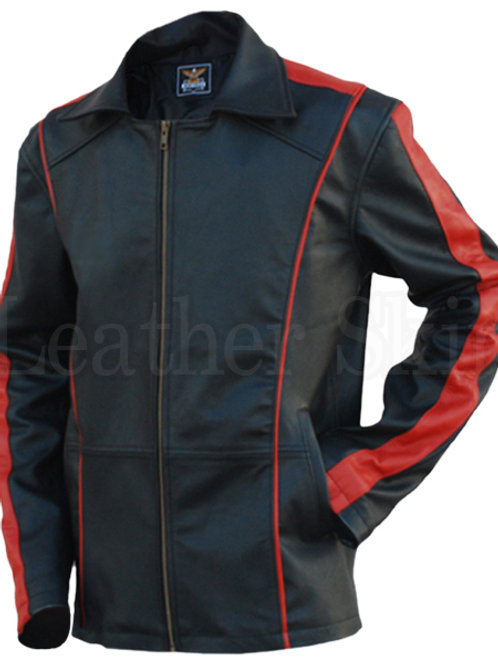 Black With Red Stripes Leather Jacket