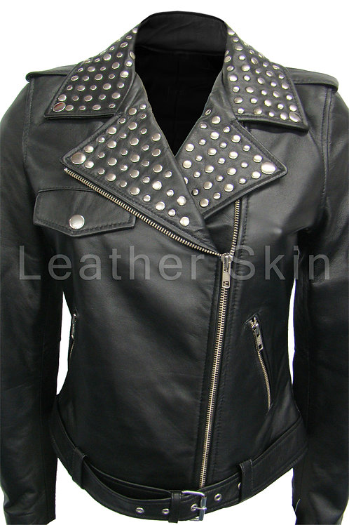 Women Brando Black Studs Leather Jacket