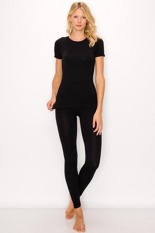 Black Seamless T-Shirt and Legging Set