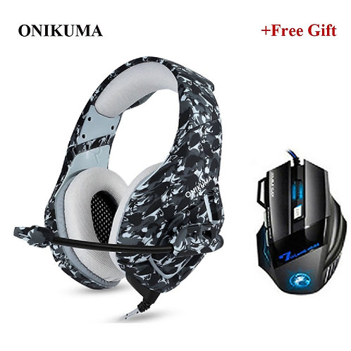 ONIKUMA K1 Camouflage Gaming Headsets Wired PC Stereo Headphones