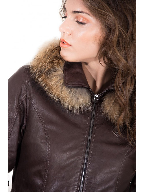 Women's Leather Hooded Jacket Parka With Fur Dark Brown Color 627