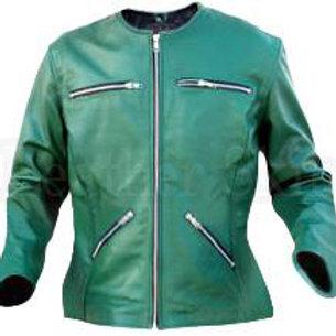 Green Collarless Women Leather Jacket