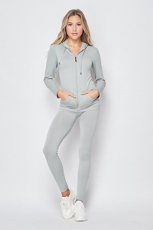 Zip Up Hoodie and Legging Tights-One Size Fits All