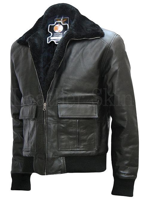 Men Black Bomber Leather Jacket