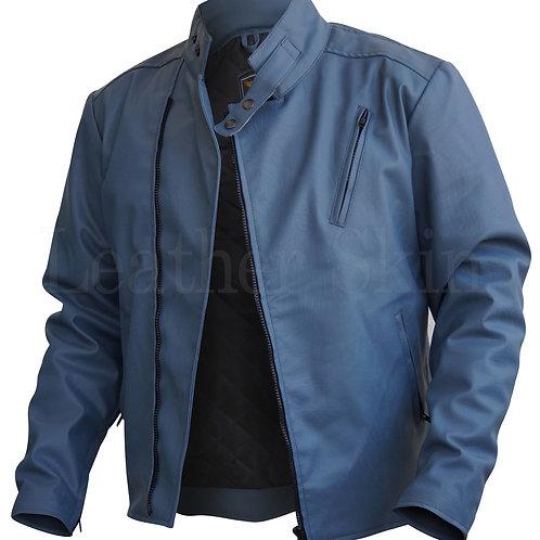 Men Gray Faux Leather Jacket