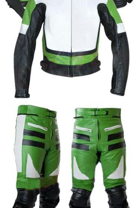 Green and White Biker Leather Jacket