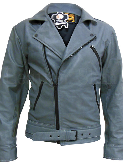 Gray Belted Unisex Biker Leather Jacket