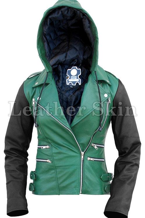 Women Hood Green Leather Jacket
