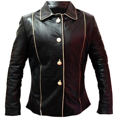 Black Men Leather Coat With Buttons