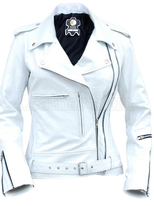 White Angel Belted Brando Leather Jacket