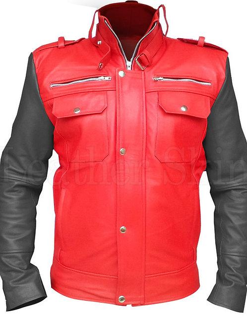 Men Red Genuine Leather Jacket