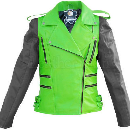 Men Green Black Sleeves Leather Jacket