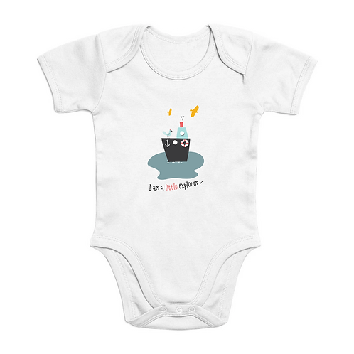 Little Explorer Short Sleeve Organic Baby Bodysuit